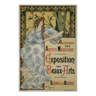 Vintage Art Nouveau, Woman Artist with Palette Poster