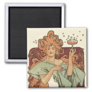 Vintage Art Nouveau, Woman Champagne Party 2 Inch Square Magnet