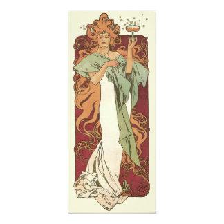 Vintage Art Nouveau, Woman Champagne Party Card