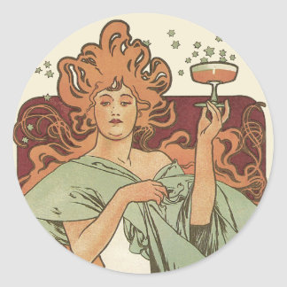 Vintage Art Nouveau, Woman Champagne Party Classic Round Sticker