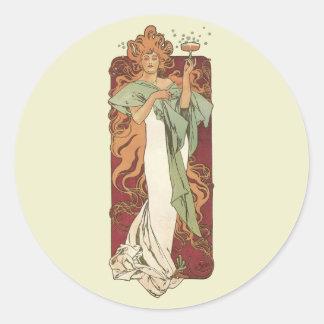 Vintage Art Nouveau, Woman Champagne Party Classic Round Sticker