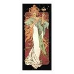 """Vintage Art Nouveau, Woman Champagne Party 4"""" X 9.25"""" Invitation Card"""
