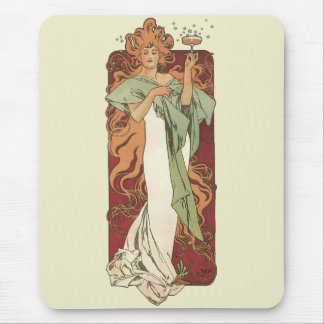 Vintage Art Nouveau, Woman Champagne Party Mouse Pad