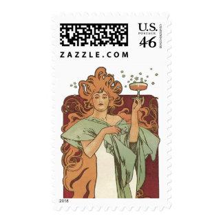 Vintage Art Nouveau Woman Champagne Party Postage Stamp