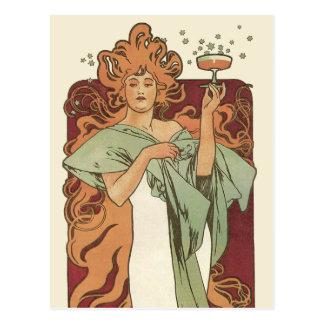 Vintage Art Nouveau, Woman Champagne Party Postcard
