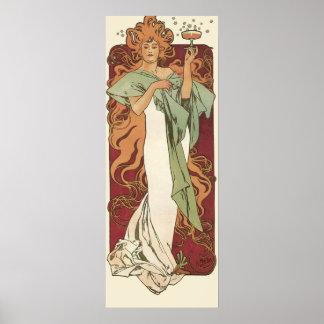 Vintage Art Nouveau, Woman Champagne Party Poster