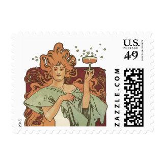 Vintage Art Nouveau, Woman Champagne Party Stamp