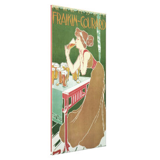 Vintage Art Nouveau, Woman Drinking Draft Beer Canvas Print