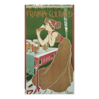 Vintage Art Nouveau, Woman Drinking Draft Beer Poster