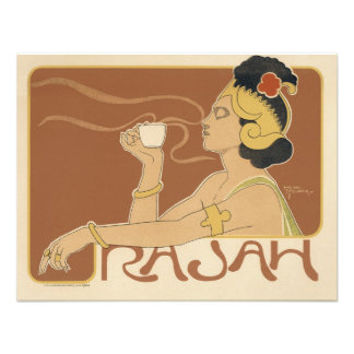 Vintage Art Nouveau, Woman Drinking Tea Cafe Rajah Announcement