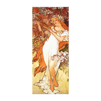 Vintage art nouveau Woman on Canvas - Alfons Mucha