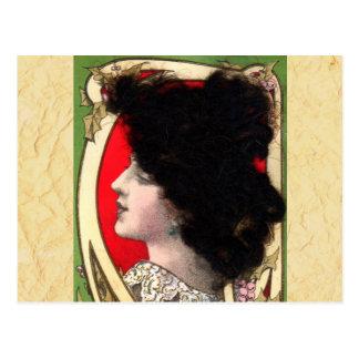 Vintage Art Nouveau Woman Postcard