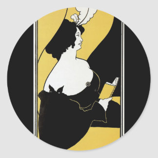 Vintage Art Nouveau, Woman Reading a Yellow Book Classic Round Sticker