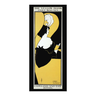 Vintage Art Nouveau, Woman Reading a Yellow Book Personalized Invitations