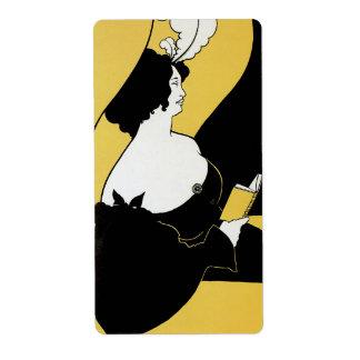 Vintage Art Nouveau, Woman Reading a Yellow Book Shipping Label