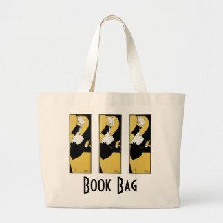 Vintage Art Nouveau, Woman Reading a Yellow Book Large Tote Bag