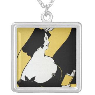 Vintage Art Nouveau, Woman Reading a Yellow Book Square Pendant Necklace