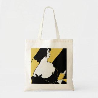 Vintage Art Nouveau, Woman Reading a Yellow Book Tote Bag