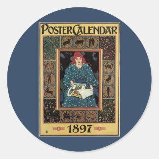 Vintage Art Nouveau, Woman Reading Astrology Book Classic Round Sticker