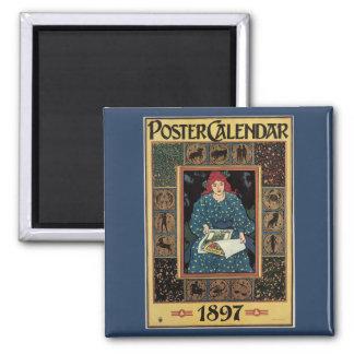 Vintage Art Nouveau, Woman Reading Astrology Book Magnet
