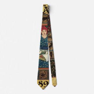 Vintage Art Nouveau, Woman Reading Astrology Book Neck Tie