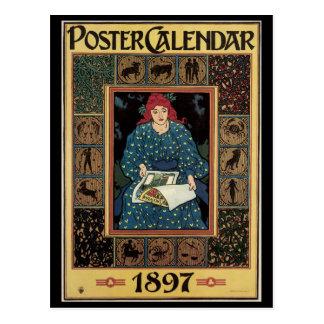 Vintage Art Nouveau, Woman Reading Astrology Book