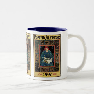 Vintage Art Nouveau, Woman Reading Astrology Book Two-Tone Coffee Mug