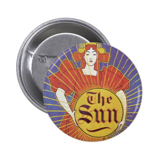 Vintage Art Nouveau, Woman with New York Sun Button