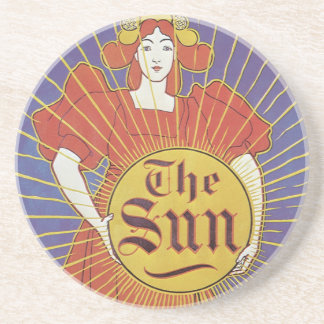 Vintage Art Nouveau, Woman with New York Sun Sandstone Coaster