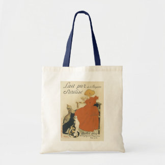 Vintage Art Nouveau, Young Girl Giving Cats Milk Budget Tote Bag