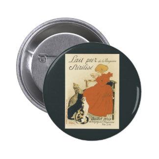 Vintage Art Nouveau, Young Girl Giving Cats Milk Button