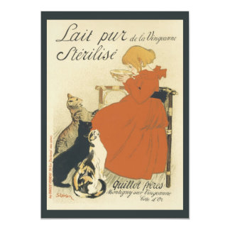 Vintage Art Nouveau, Young Girl Giving Cats Milk Card