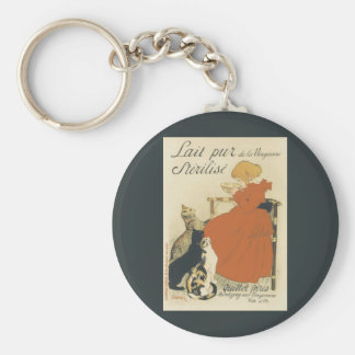 Vintage Art Nouveau, Young Girl Giving Cats Milk Keychains