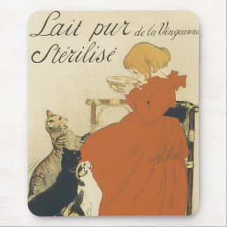 Vintage Art Nouveau, Young Girl Giving Cats Milk Mouse Pad