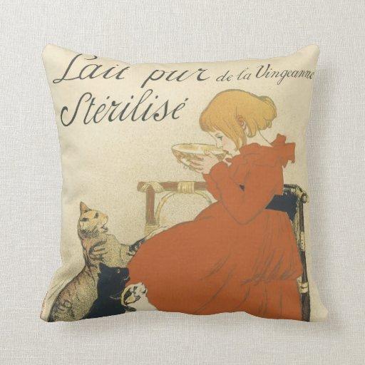Vintage Art Nouveau, Young Girl Giving Cats Milk Pillow