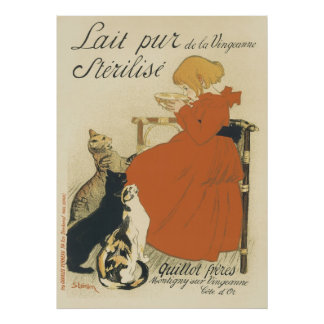 Vintage Art Nouveau, Young Girl Giving Cats Milk Poster