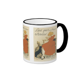 Vintage Art Nouveau, Young Girl Giving Cats Milk Ringer Mug