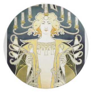 Vintage Art Noveau Gas Light Lady Dinner Plate