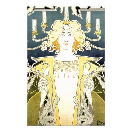 Vintage Art Noveau Gas Light Lady Stationery Design