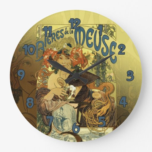 Vintage Art Noveau Poster Art Meuse Round Wallclock