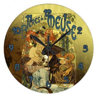 Vintage Art Noveau Poster Art Meuse Large Clock