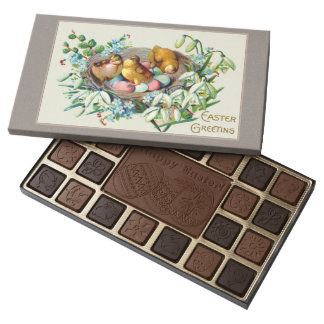 Vintage Art of Chicks & Easter Eggs 45 Piece Box Of Chocolates