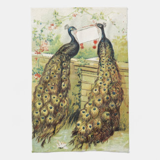 Vintage art peacocks carrying a message, gifts hand towels