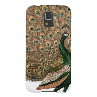 Vintage art Peafowl (peacock) plummage green gold Cases For Galaxy S5