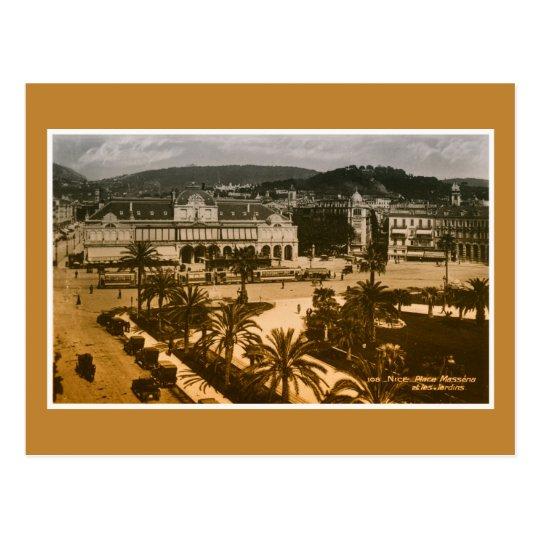 Vintage art photo Nice France Place Messina Postcard