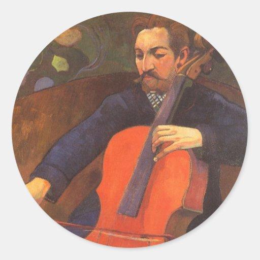 Vintage Art, Player Schneklud Portrait, Gauguin Classic Round Sticker