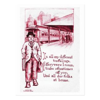 Vintage Art Postcard Hobo Tramp in Red