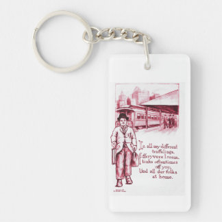 Vintage Art Postcard Hobo Tramp in Red Double-Sided Rectangular Acrylic Keychain