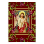 Vintage Art Poster Angel Floral Religious Poster