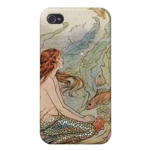 VINTAGE ART POSTER MERMAID PRINT COVER FOR iPhone 4